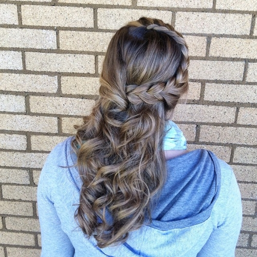 side braid curly half updo