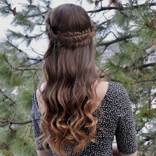 half updo with fishtail crown braid