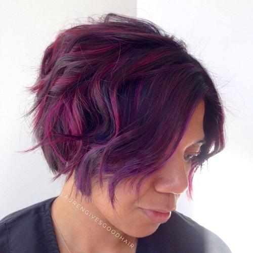 Purple Wavy Bob For Black Women