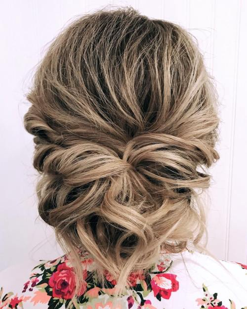60 easy updo hairstyles for medium length hair in 2018 twisted and pinned low updo for prom solutioingenieria Choice Image