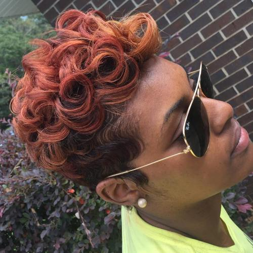 African American Red Curly Pixie