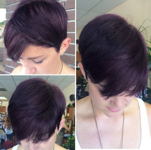 dark plum brown hair short haircut