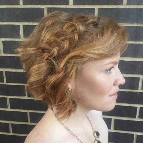 Curly Bob With Braid Formal Hairstyle