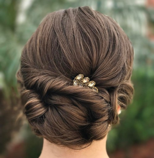 Twisted Low Bun Updo