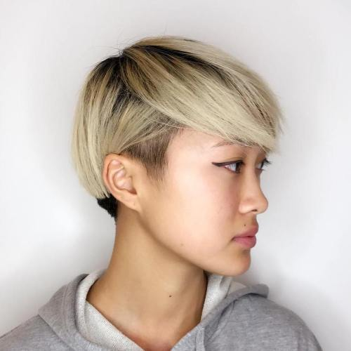 Two-Tone Short Hairstyle With Temple Undercut