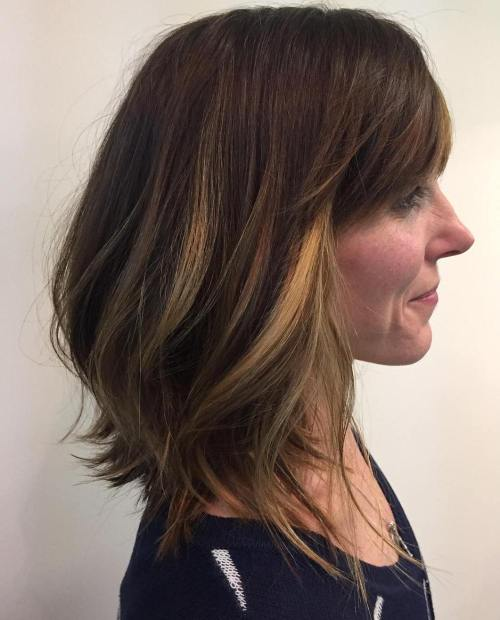 Long Brown Bob With Bangs And Highlights