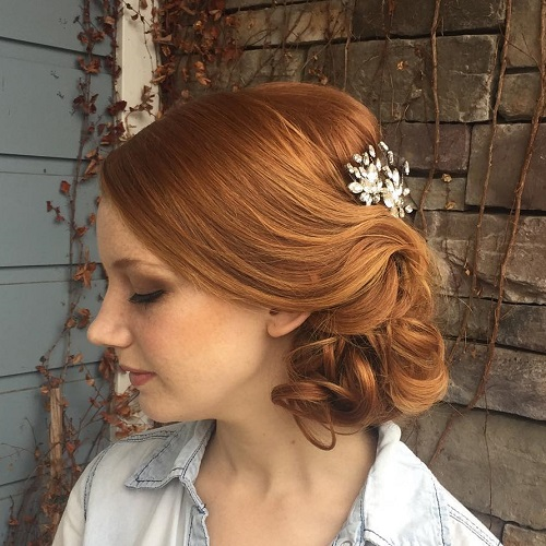 Loose Curly Red Updo