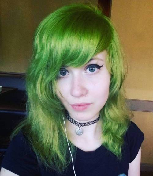 Pastel Green Hair With Bangs