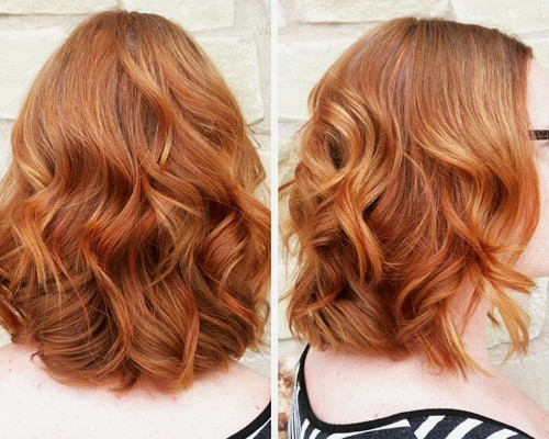 Light Copper Wavy Medium Hairstyle Images