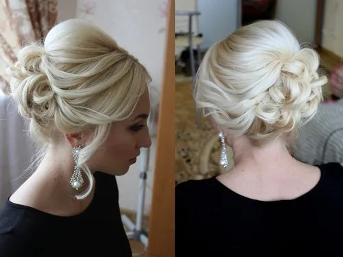 blonde bridal bouffant updo