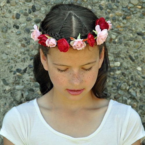 Floral Braided Crown Hairstyle For Girls