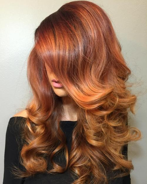 Long Copper Balayage Hair