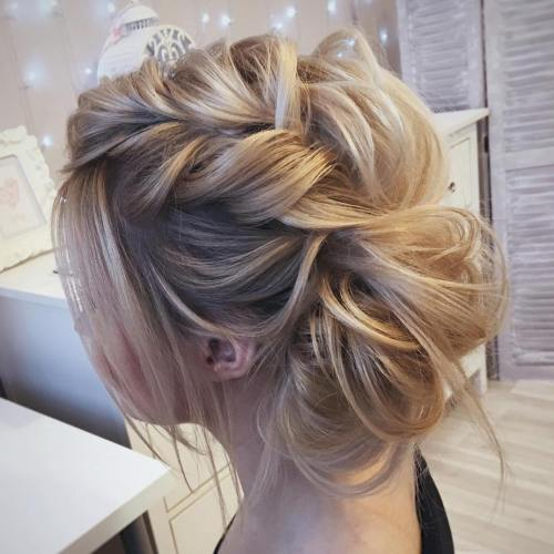 60 easy updo hairstyles for medium length hair in 2017 messy braided updo pmusecretfo Choice Image