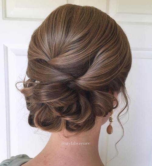 60 easy updo hairstyles for medium length hair in 2018 polished low updo for long hair solutioingenieria Image collections