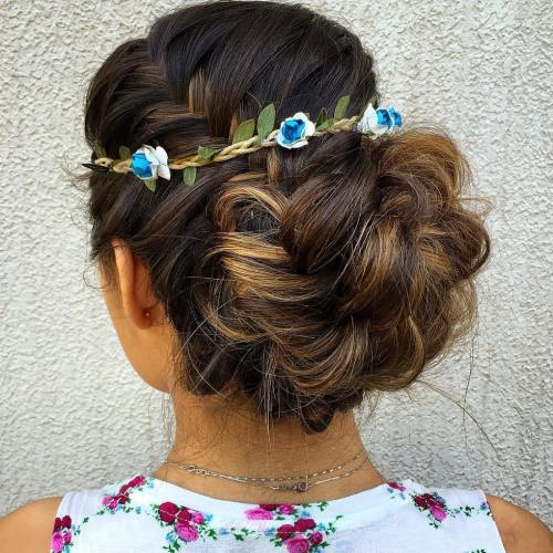 Low Loopy Bun With A Braid Updo