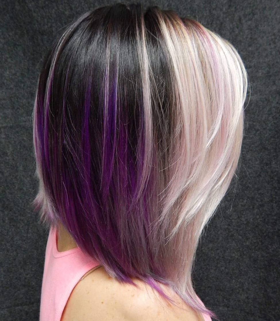black and blonde bob with purple highlights