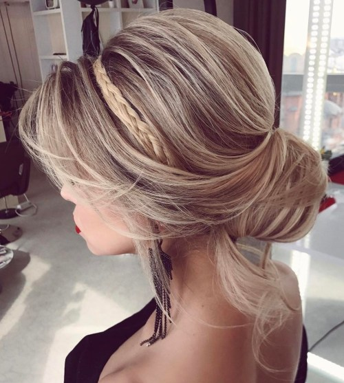 Formal Loose Bun With A Braid