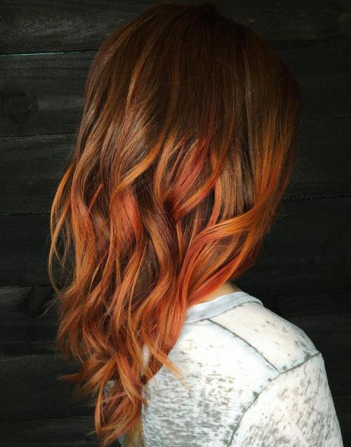 Copper Balayage For Brown Hair