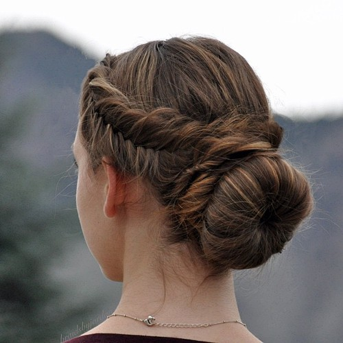 fishtail into low bun updo