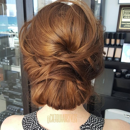 60 easy updo hairstyles for medium length hair in 2017 messy chignon updo pmusecretfo Image collections