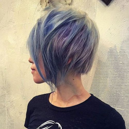 Pastel Blue Layered Bob