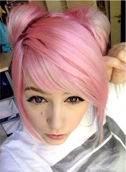 30 creative emo hairstyles and haircuts for girls in 2017 pastel pink updo hairstyle urmus Choice Image