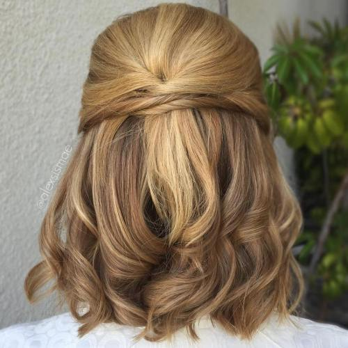 Cute Half Updo For Medium Hair