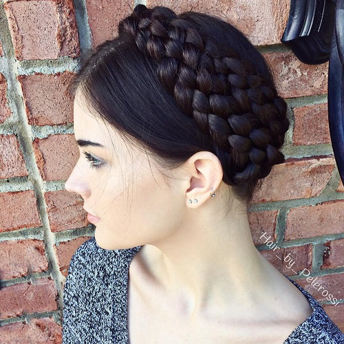 Cool Double Braided Crown Updo