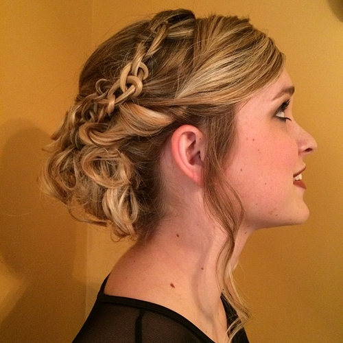 curly updo with a chain braid