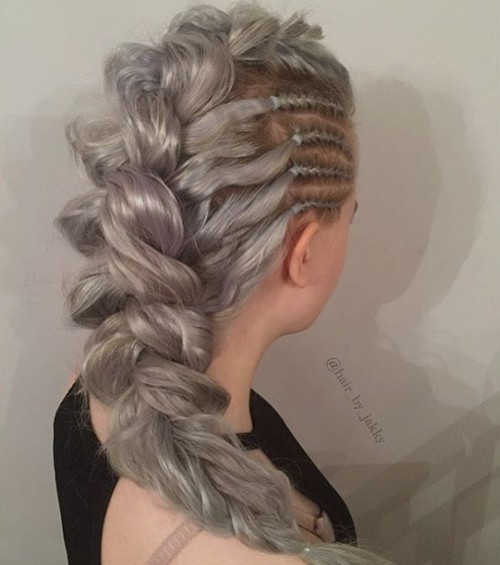 silver braided hairstyle