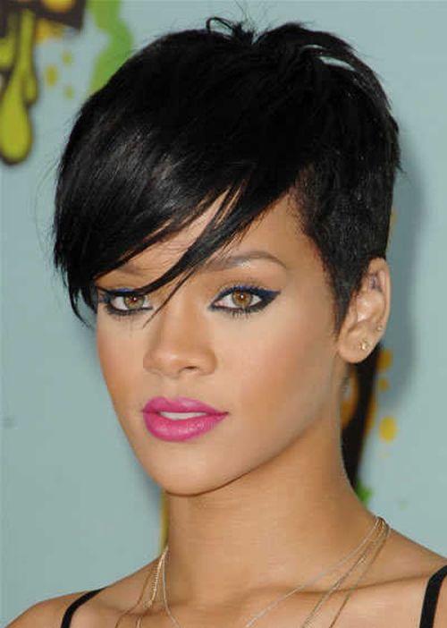 Rihanna short asymmetric hairstyle
