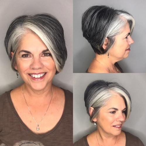 Long Pixie With Gray Highlights