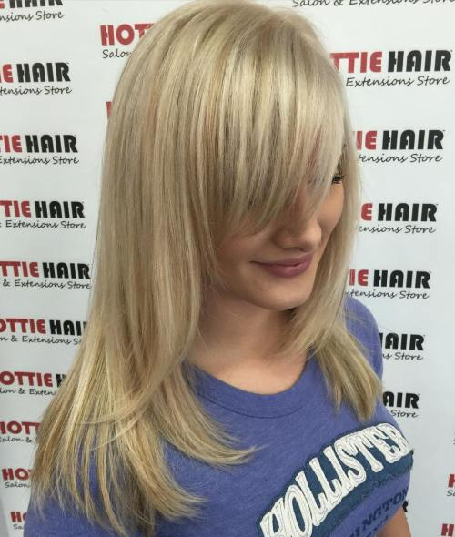 Shoulder-Length Blonde Hair With Bangs