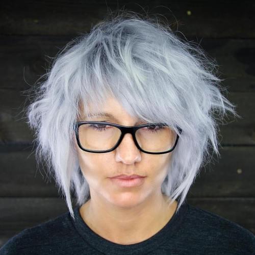Medium Shaggy Gray Hairstyle