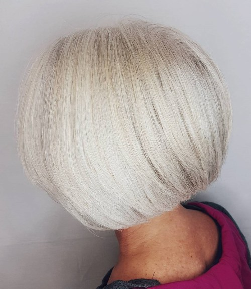 Rounded White Bob Over 60