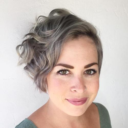 Short Curly Ash Blonde Bob