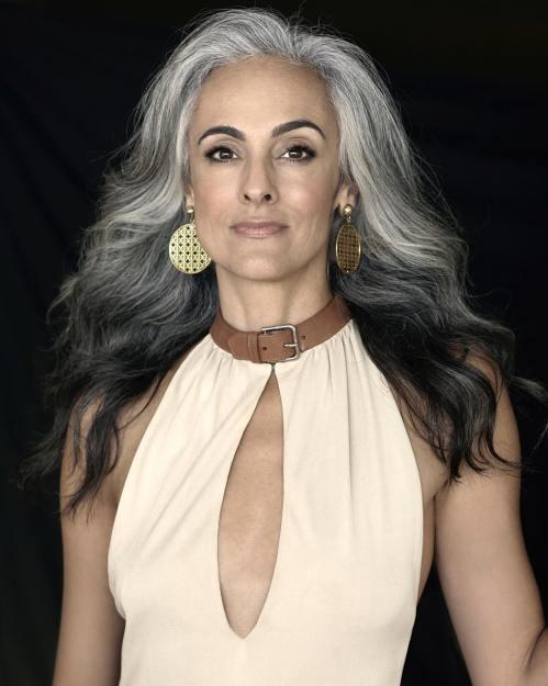 Long Wavy Layered Gray Hairstyle
