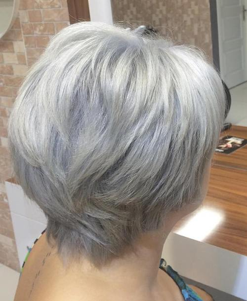 Mature Short Layered Gray Hairstyle