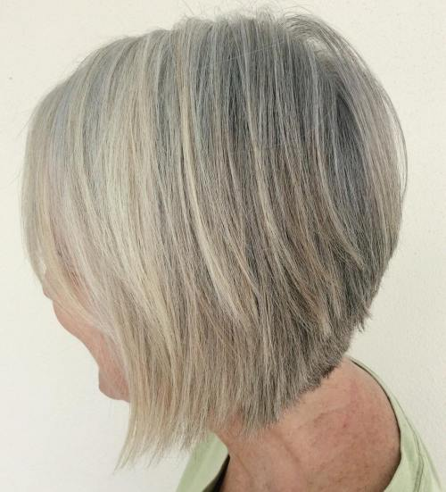 Gray Blonde Inverted Bob For Older Women