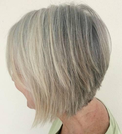 Gray Blonde Inverted Bob For Older Women