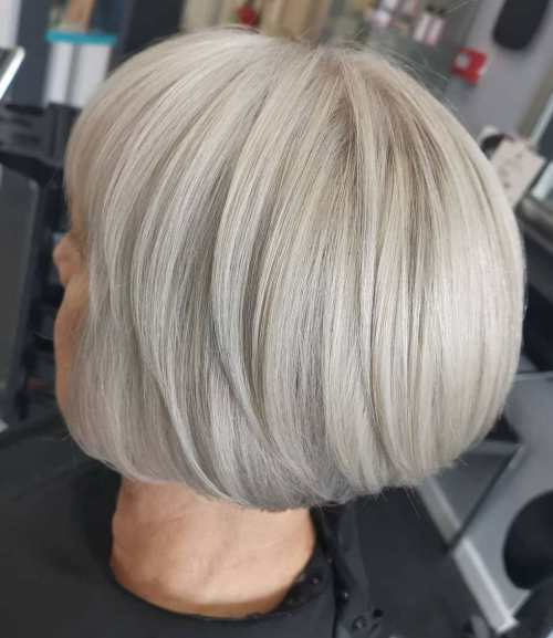 Chic Rounded White Blonde Bob