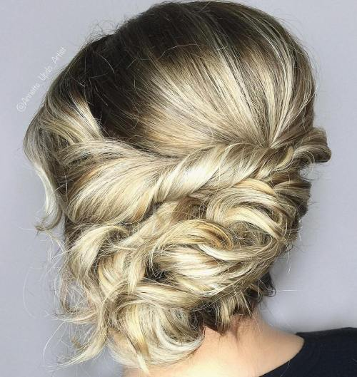 Messy Twisted Updo For Medium Hair