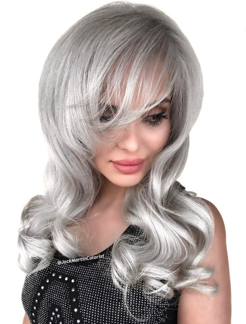 Gray Layered Hairstyle With Bangs