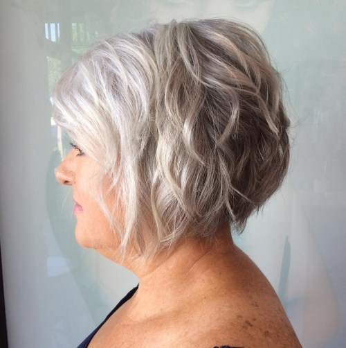 Short Textured Silver Bob With Waves