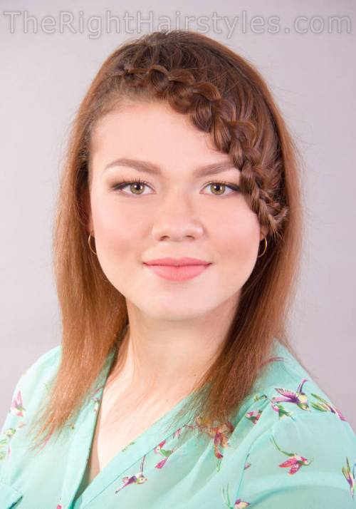 medium hairrstyle with braided bangs for round faces