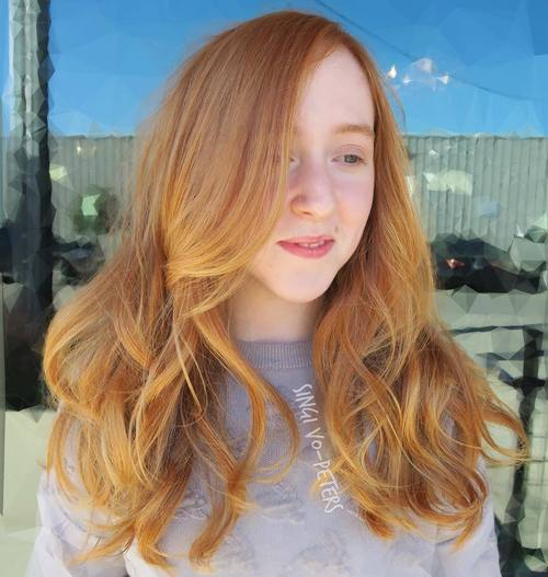 Superb Light Red Hair With Golden Blonde Balayage Nice Look