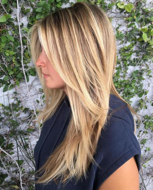 Caramel Blonde Straight Layered Hairstyle