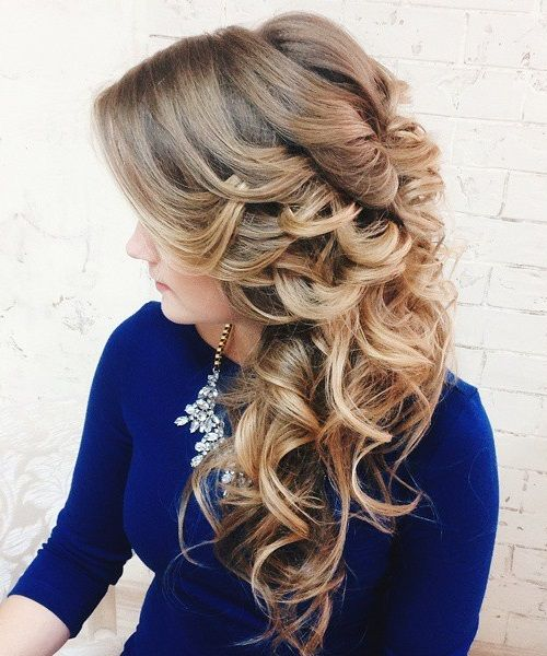 side curly wedding hairstyle for long hair