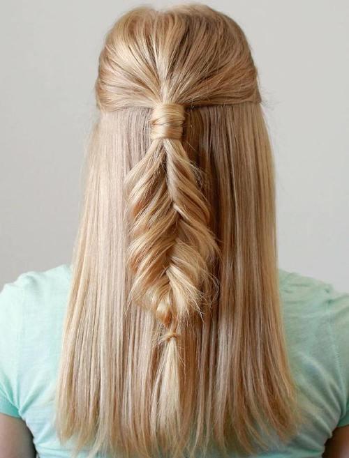 half up blonde fishtail