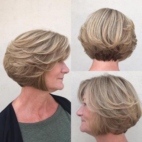 Layered Ash Blonde Bob For Older Women